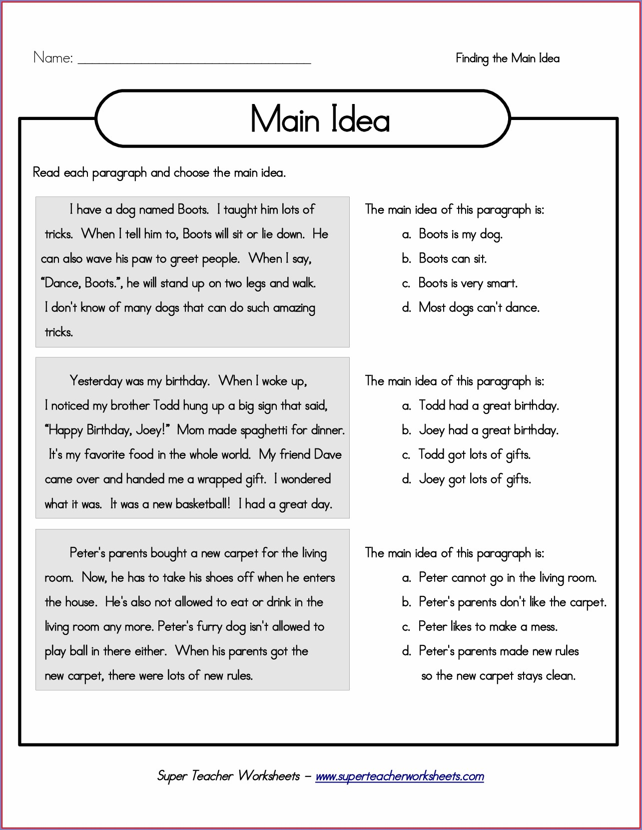 3rd Grade Worksheets For Main Idea And Supporting Details