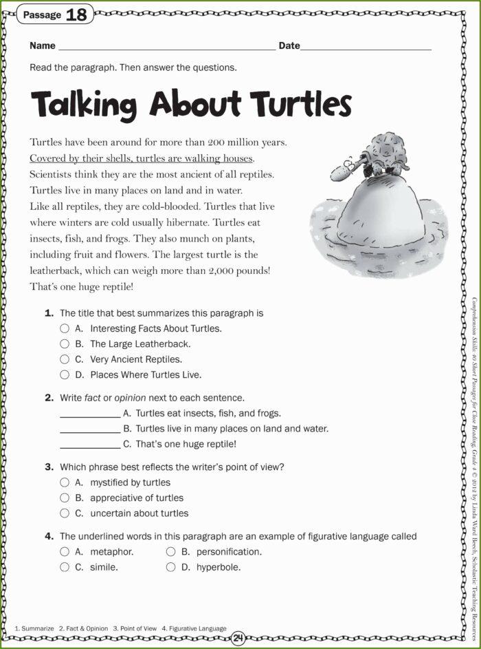 3rd Grade Worksheets For Reading