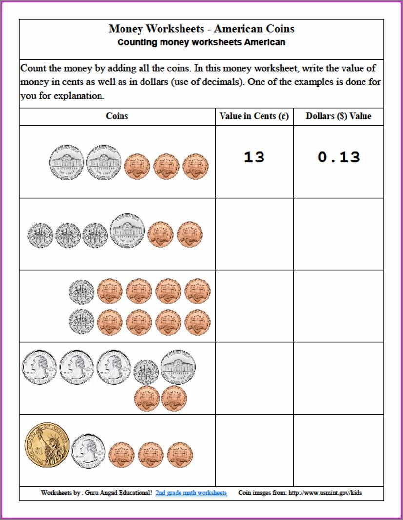 3rd Grade Worksheets Money