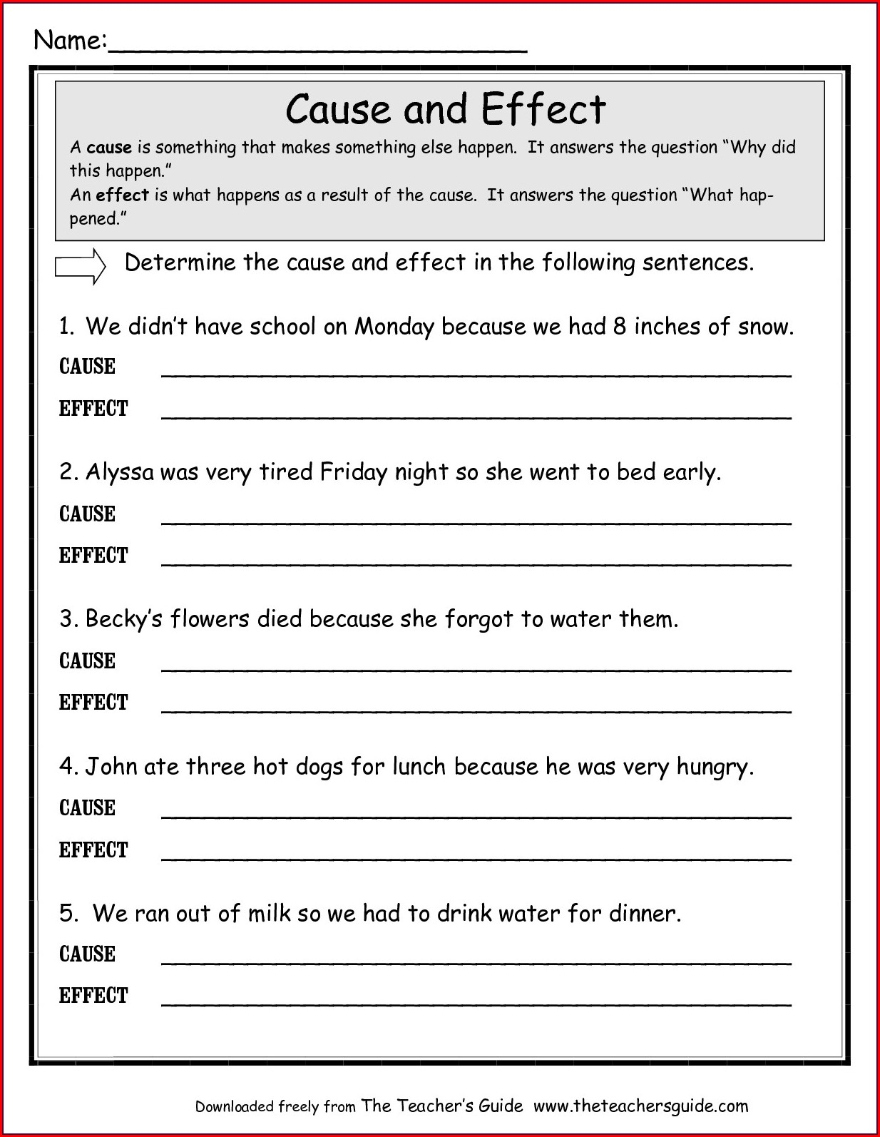 3rd Grade Worksheets On Cause And Effect
