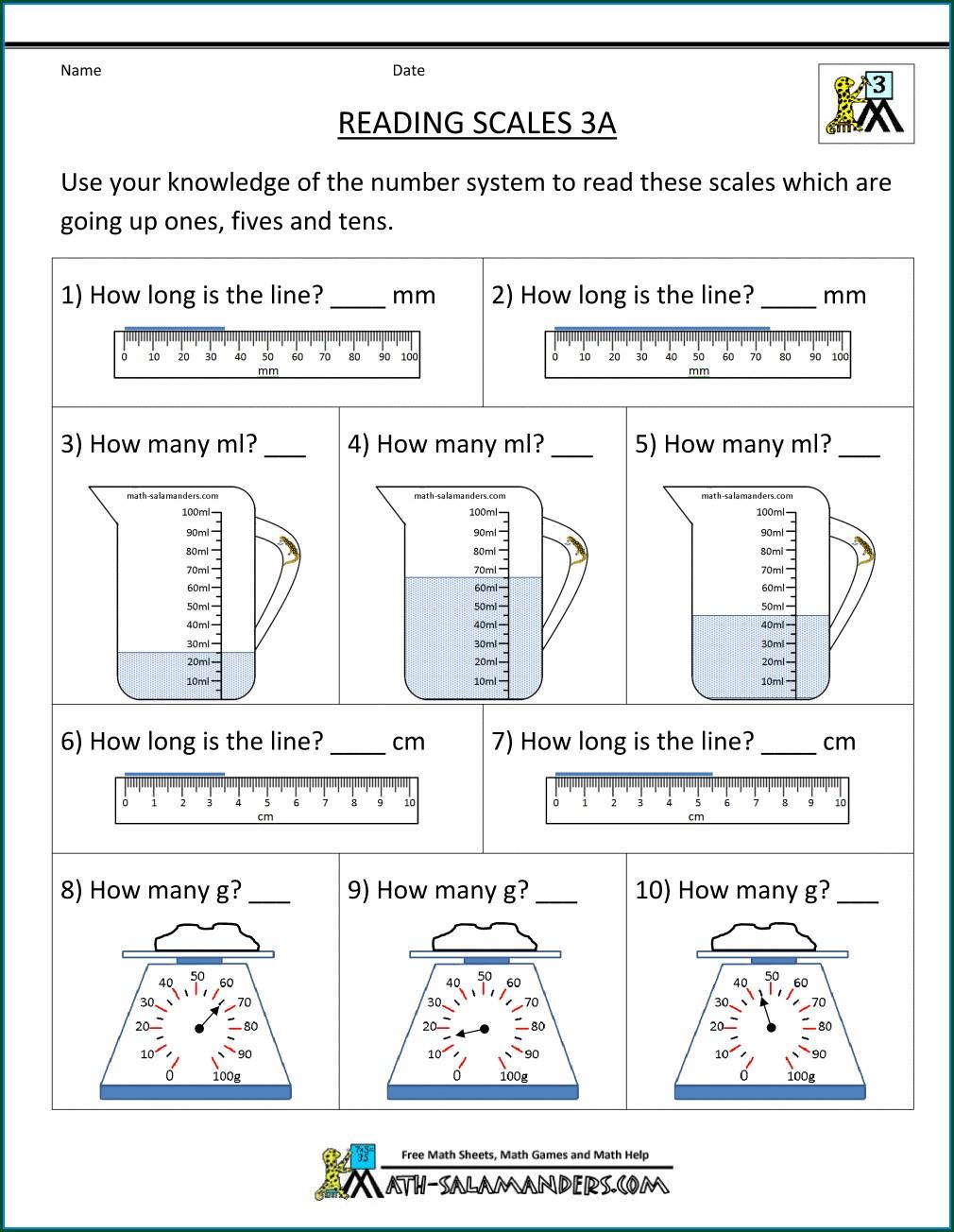 3rd Grade Worksheets On Grams And Kilograms