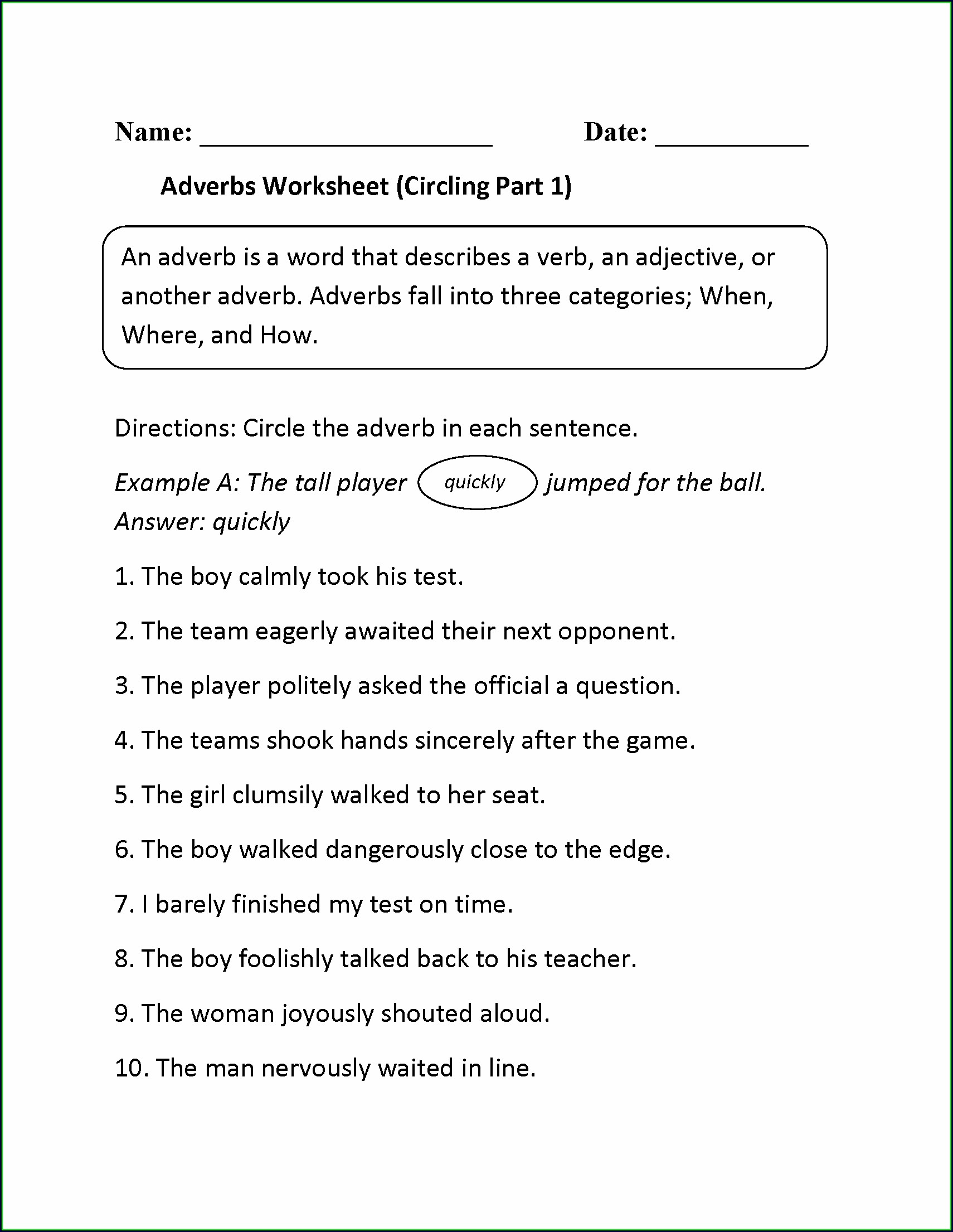 4th Grade Adverbs Worksheets For Grade 4