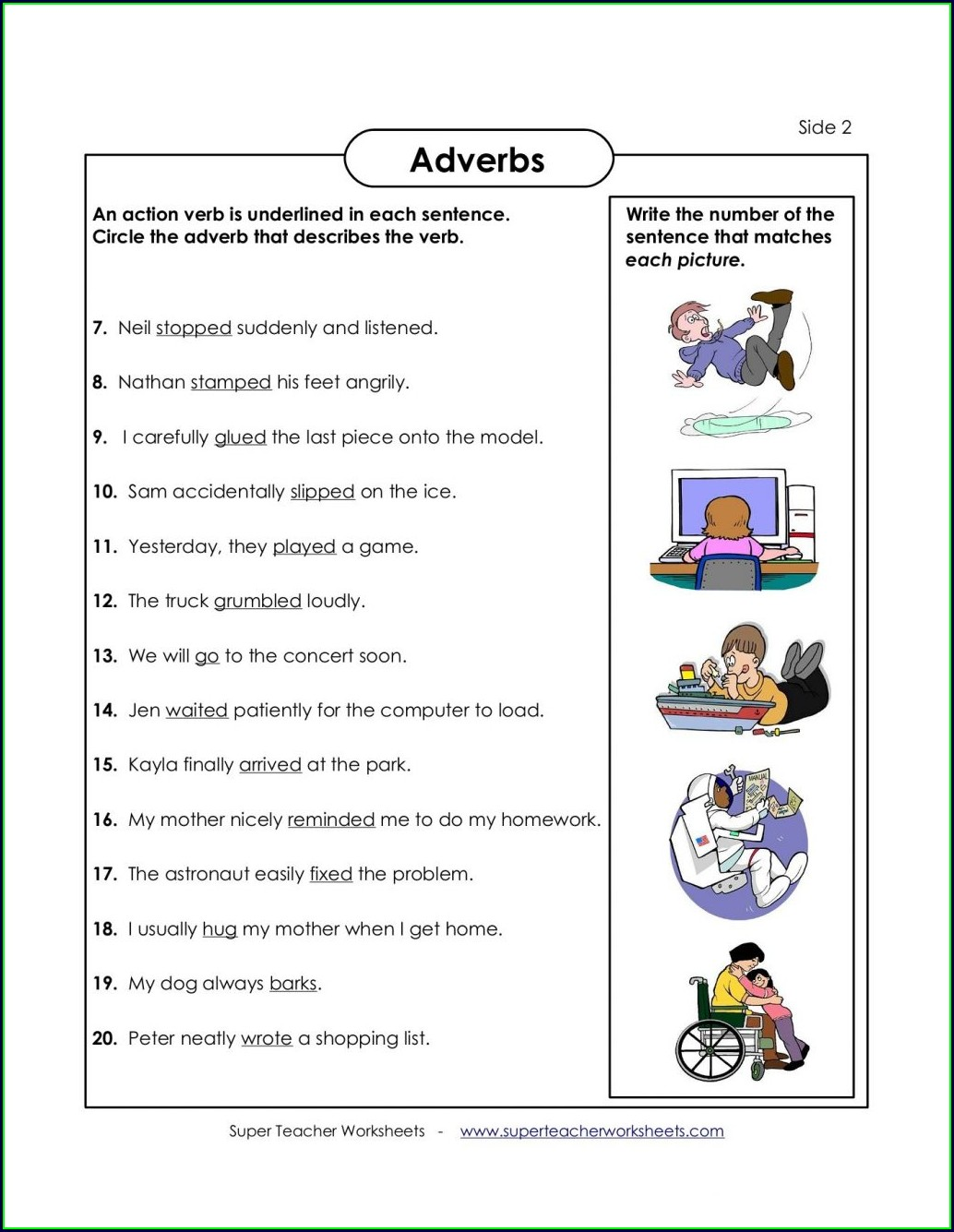 4th Grade Adverbs Worksheets