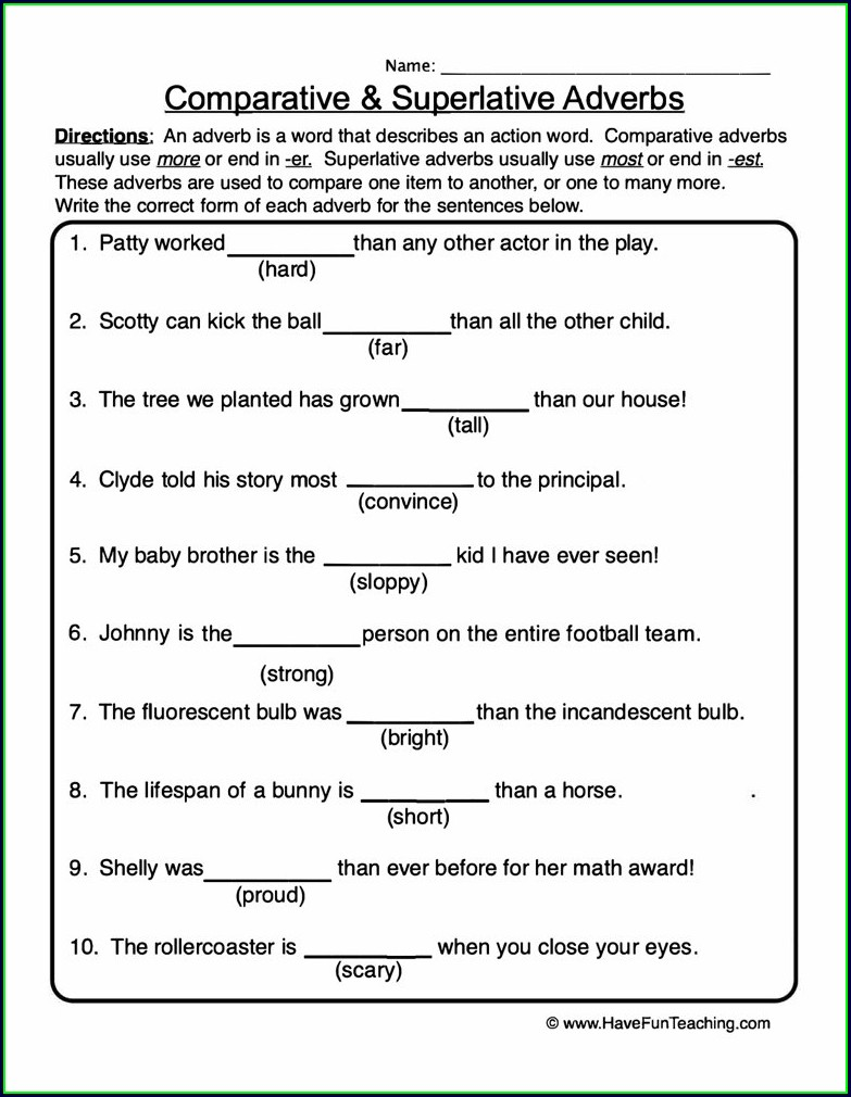 4th Grade Comparison Of Adverbs Worksheet