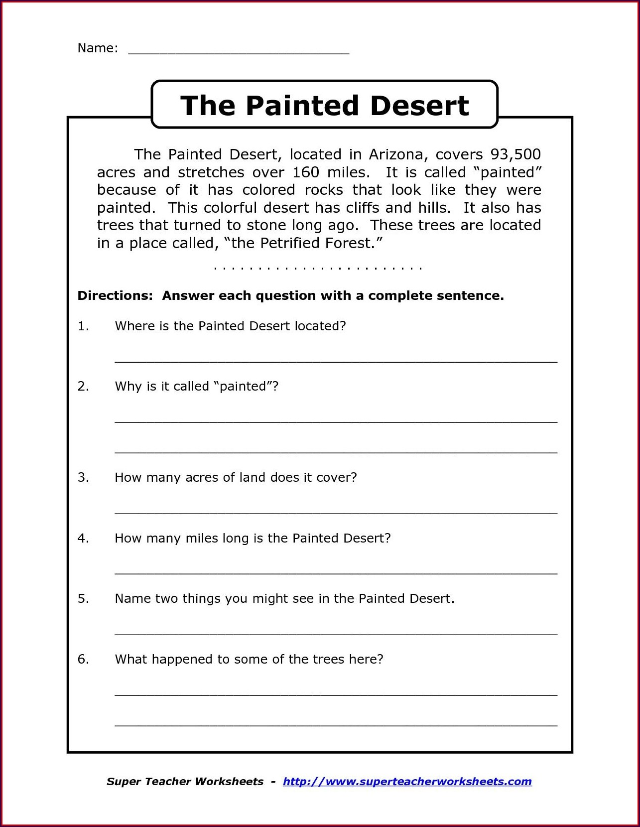 4th Grade Comprehension Worksheet For Grade 4