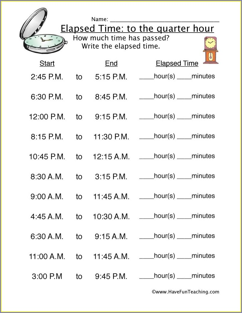 4th Grade Elapsed Time Worksheets Grade 4