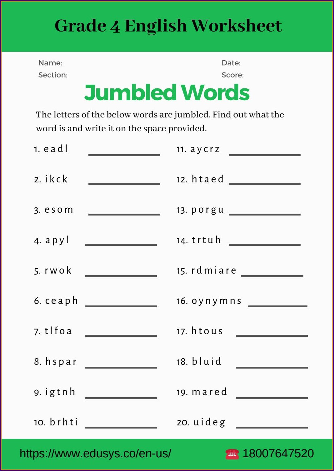 4th Grade English Grammar Worksheets For Grade 5