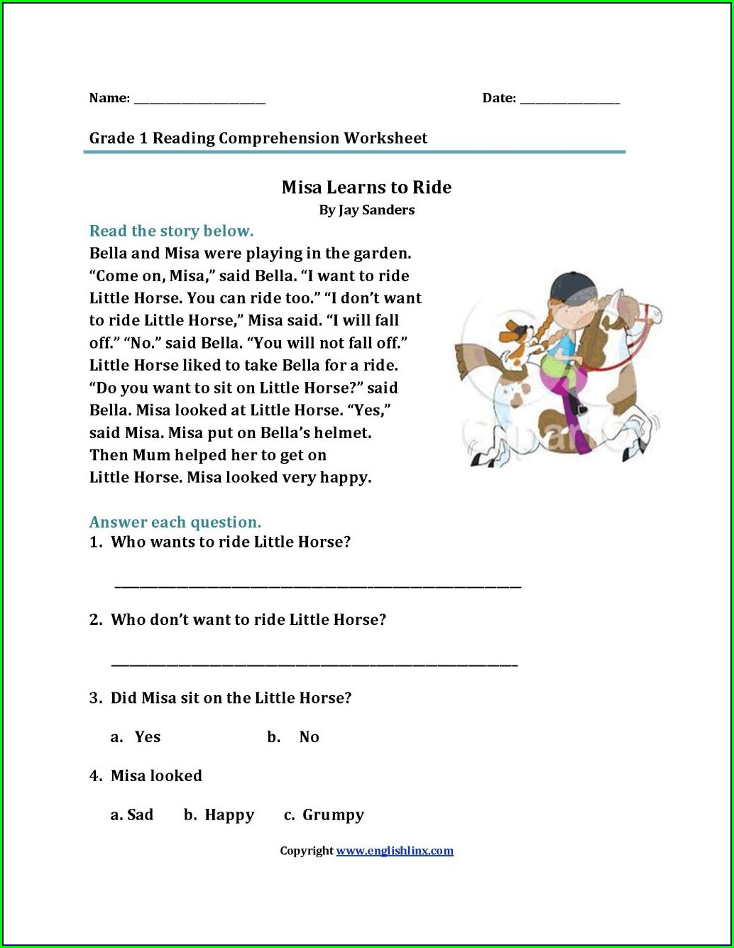 4th Grade English Worksheets With Answer Key