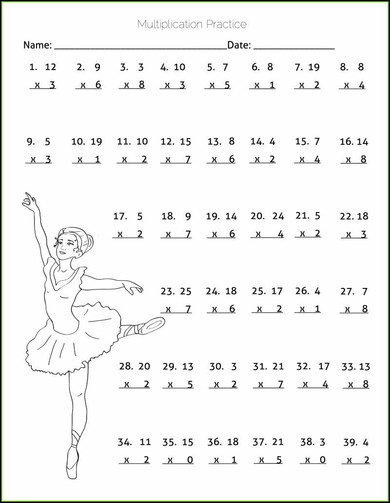4th Grade Math Worksheet Multiplication