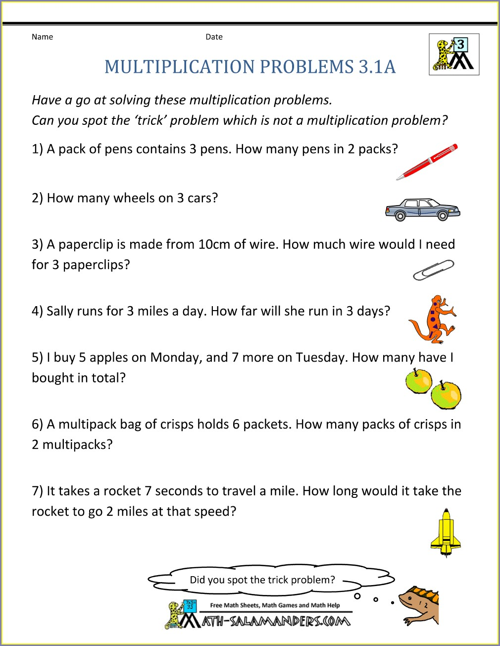 4th Grade Multiplication Word Problems Worksheets Grade 3