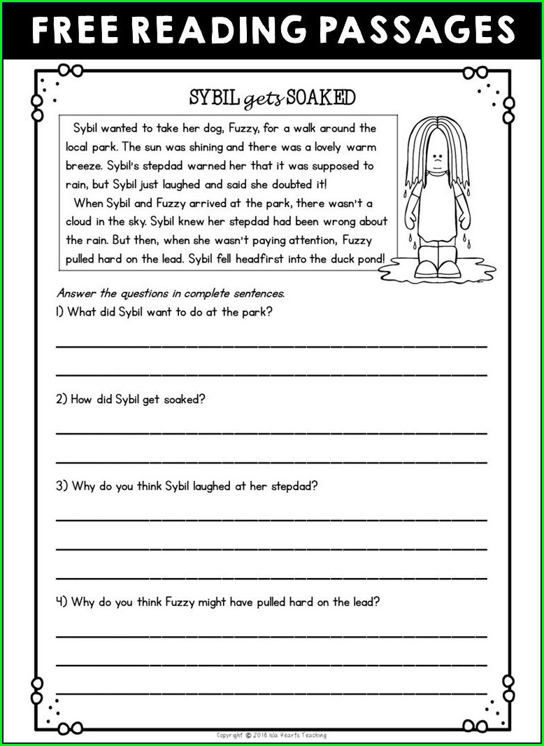 4th Grade Reading Comprehension 4th Class Worksheet