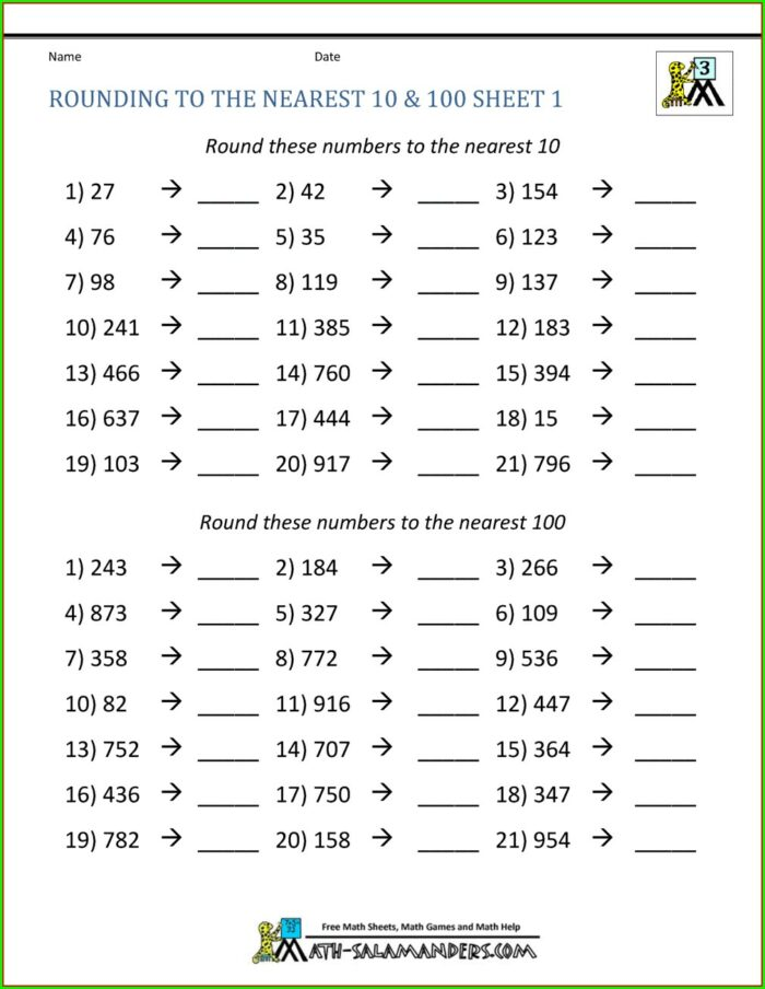 4th Grade Rounding Off Numbers Worksheets