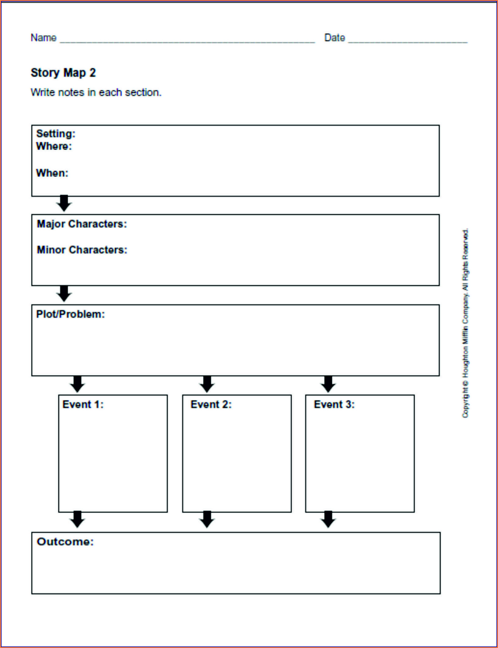 4th Grade Story Map Worksheet