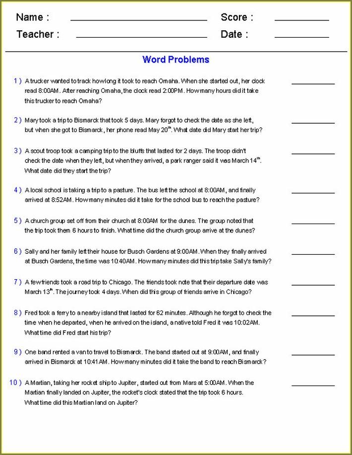 4th Grade Time Order Words Worksheet