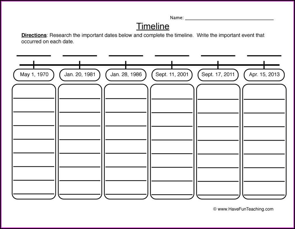 4th Grade Timeline Worksheets For Grade 4
