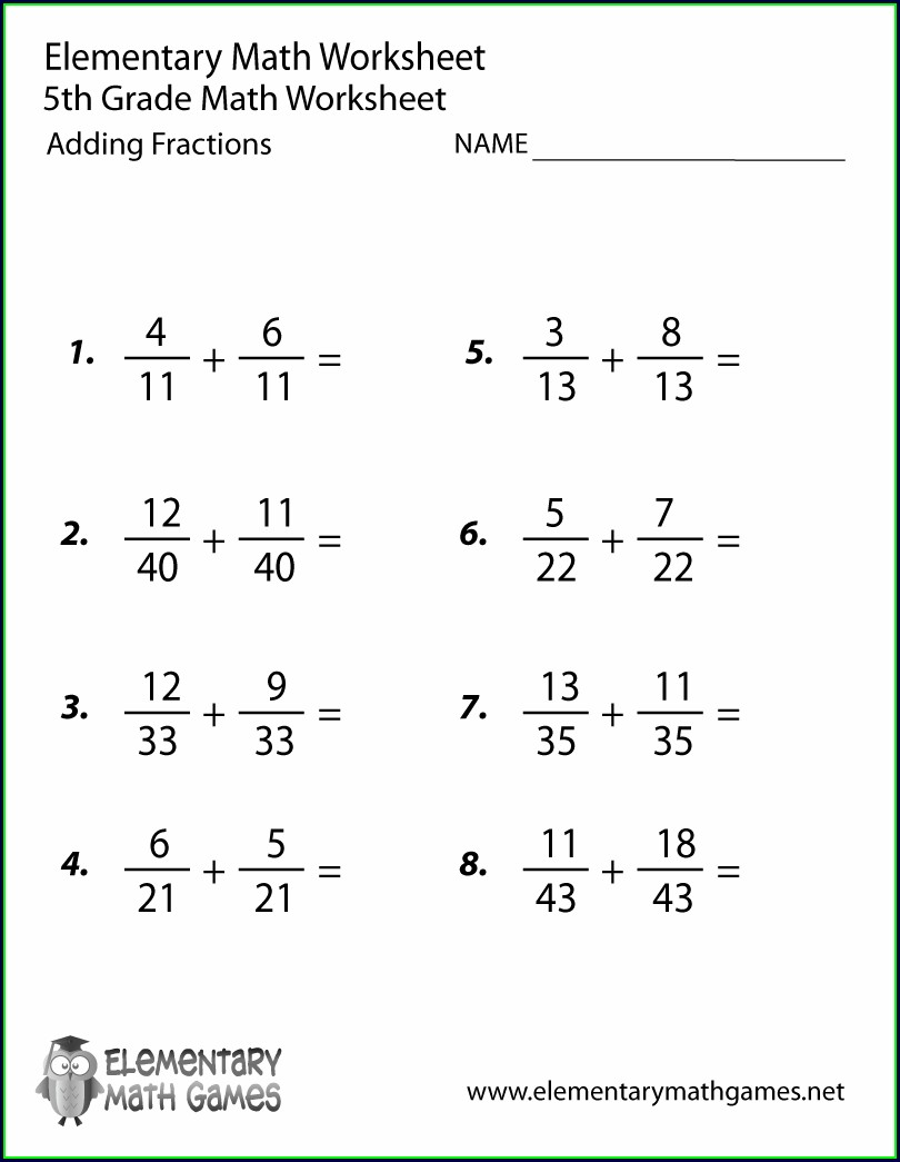 5th Grade Adding Improper Fractions Worksheet