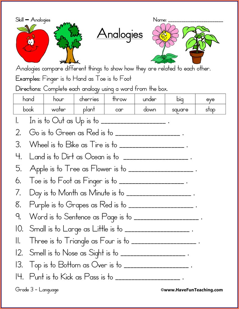 5th Grade Analogies Worksheet Answers