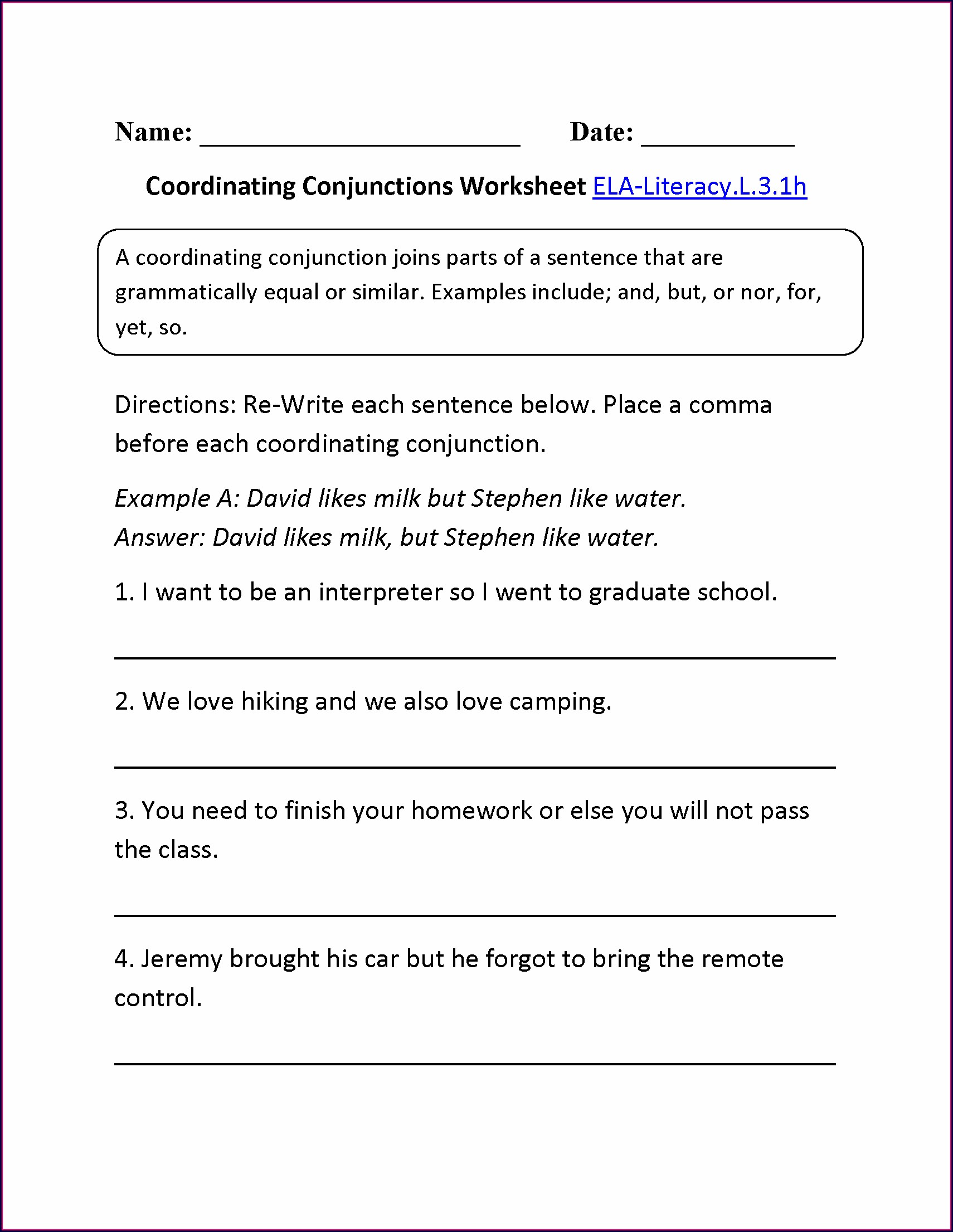 5th Grade Conjunctions Worksheets For Grade 5 With Answers