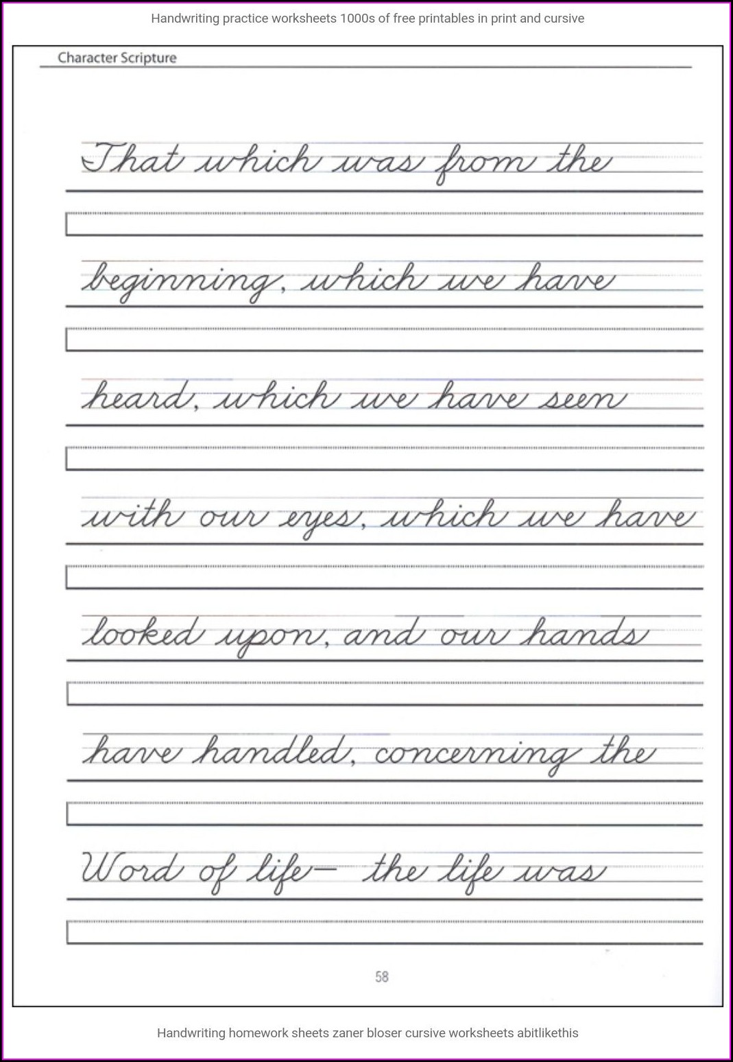 5th Grade Cursive Writing Sentences Worksheets Pdf