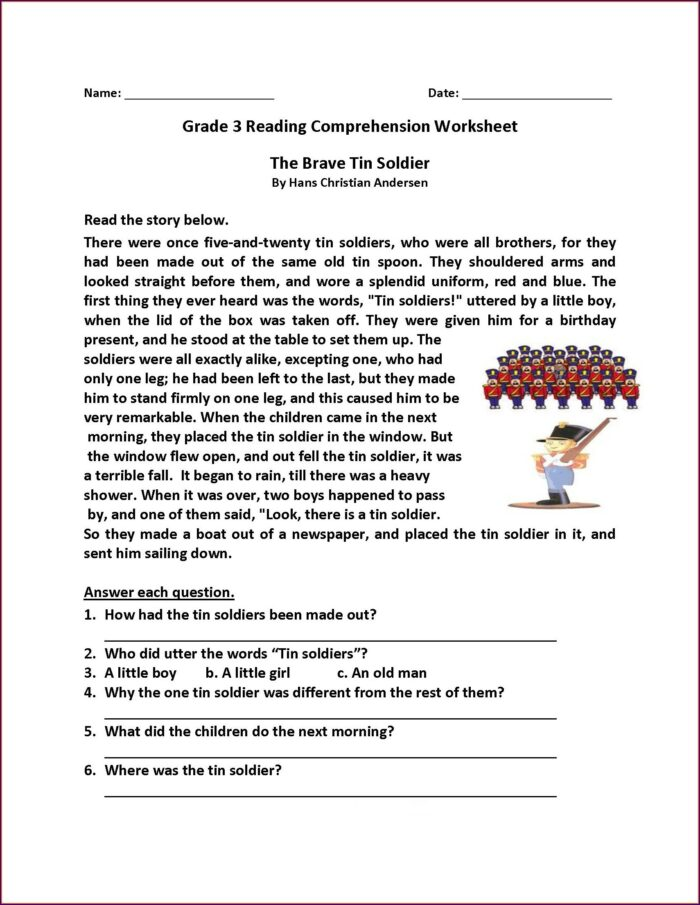 5th Grade English Comprehension Worksheets