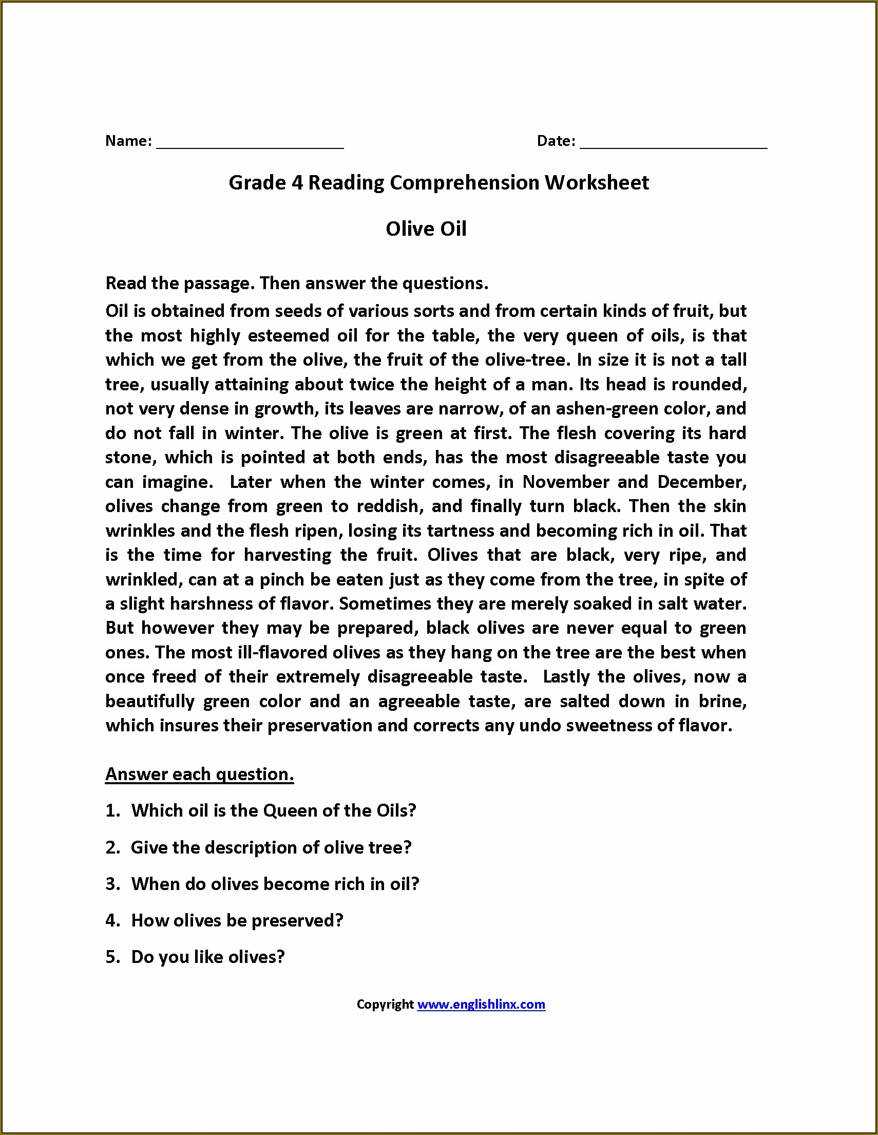 5th Grade English Worksheets For Grade 4 With Answers