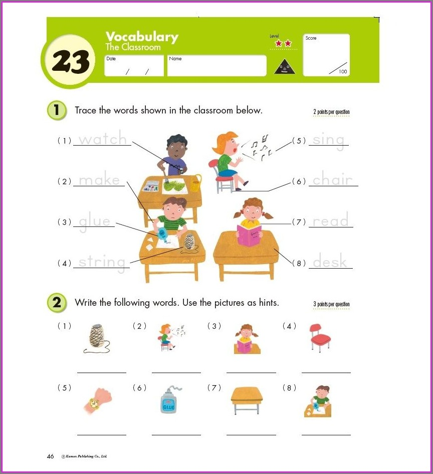 5th Grade Free Printable Kumon English Worksheets