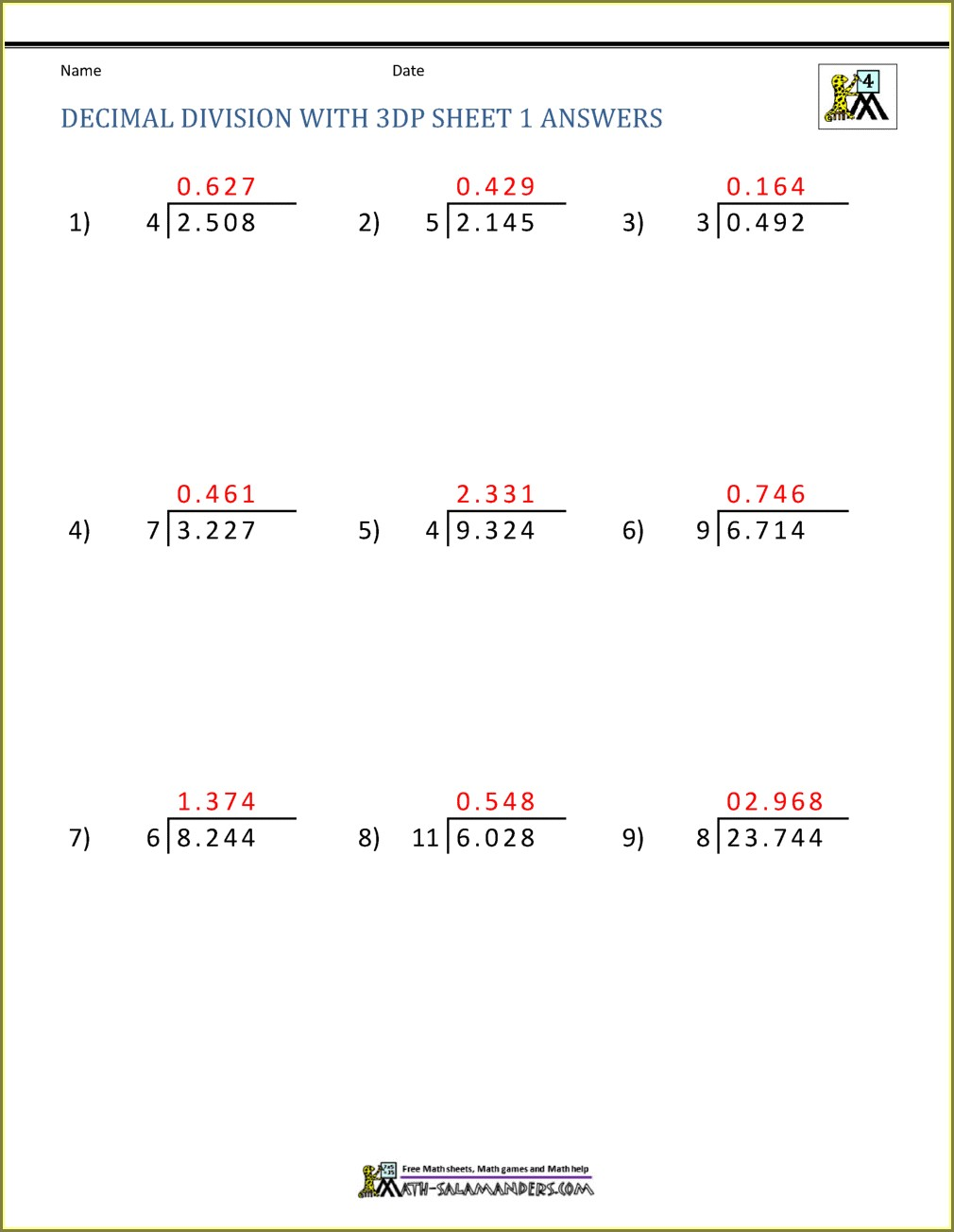 5th Grade Grade 5 Math Long Division Worksheets