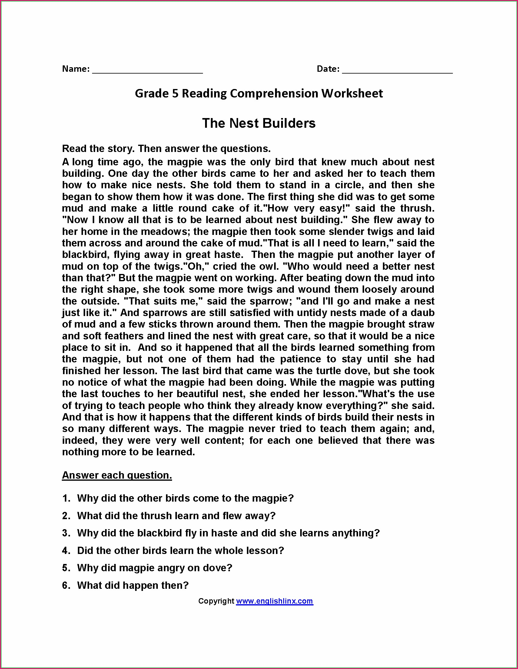5th Grade History Worksheets Free