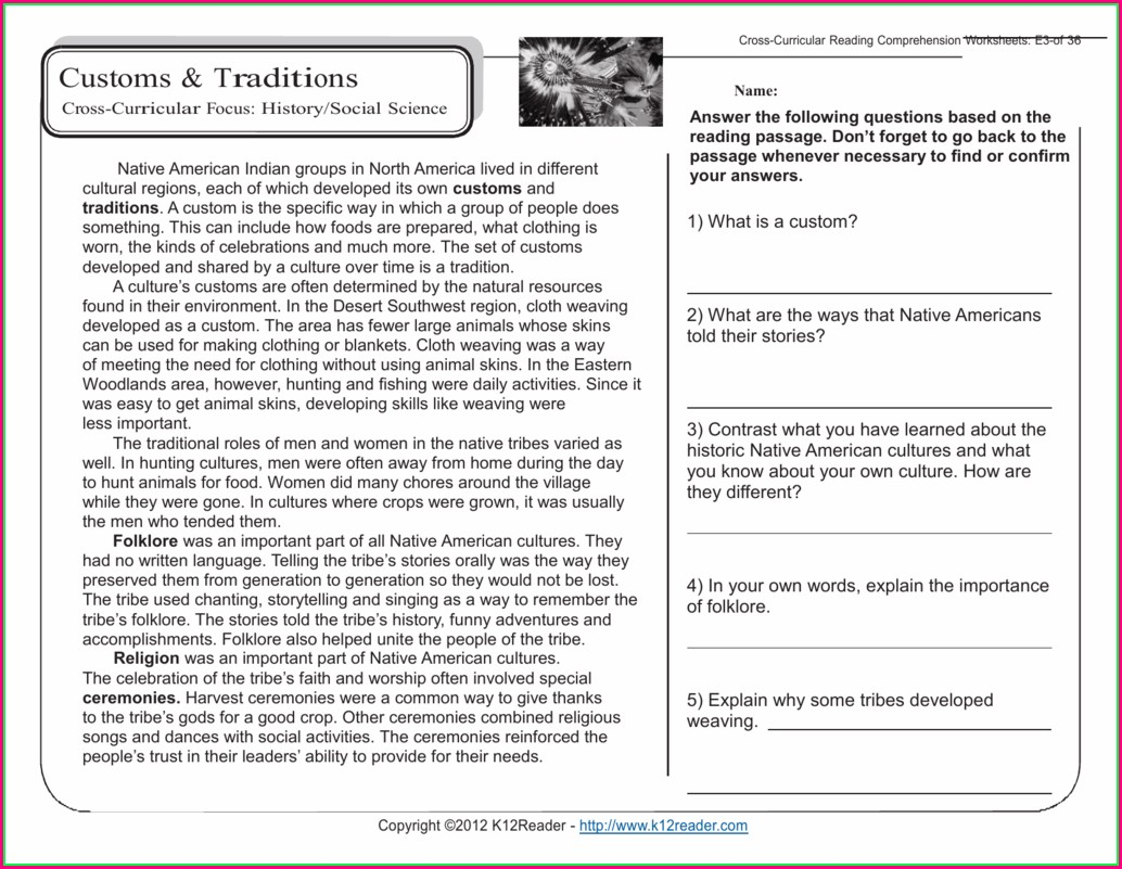 5th Grade History Worksheets Pdf