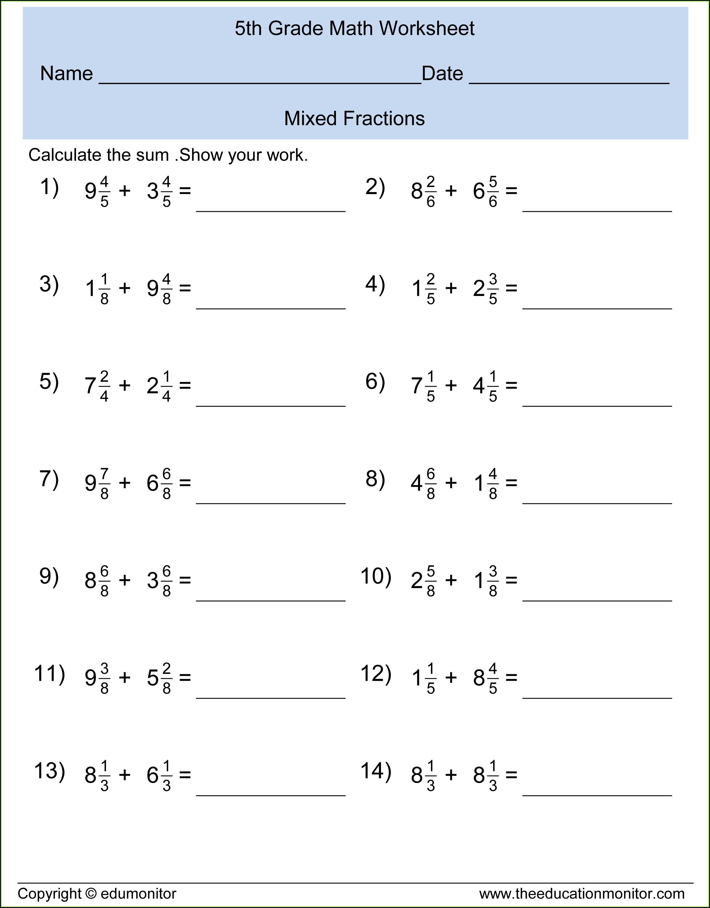 5th Grade Math Worksheet Fractions