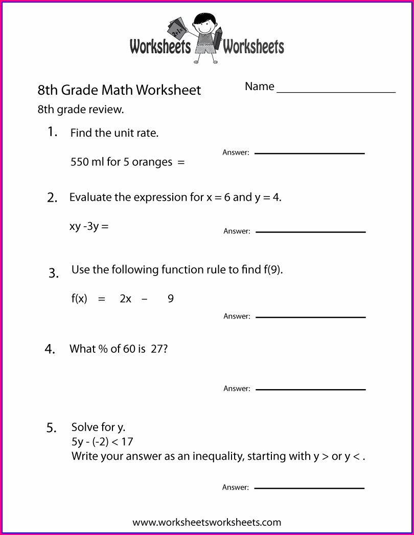 5th Grade Math Worksheet With Answer Key