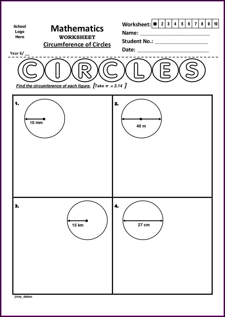 5th Grade Math Worksheets Circumference