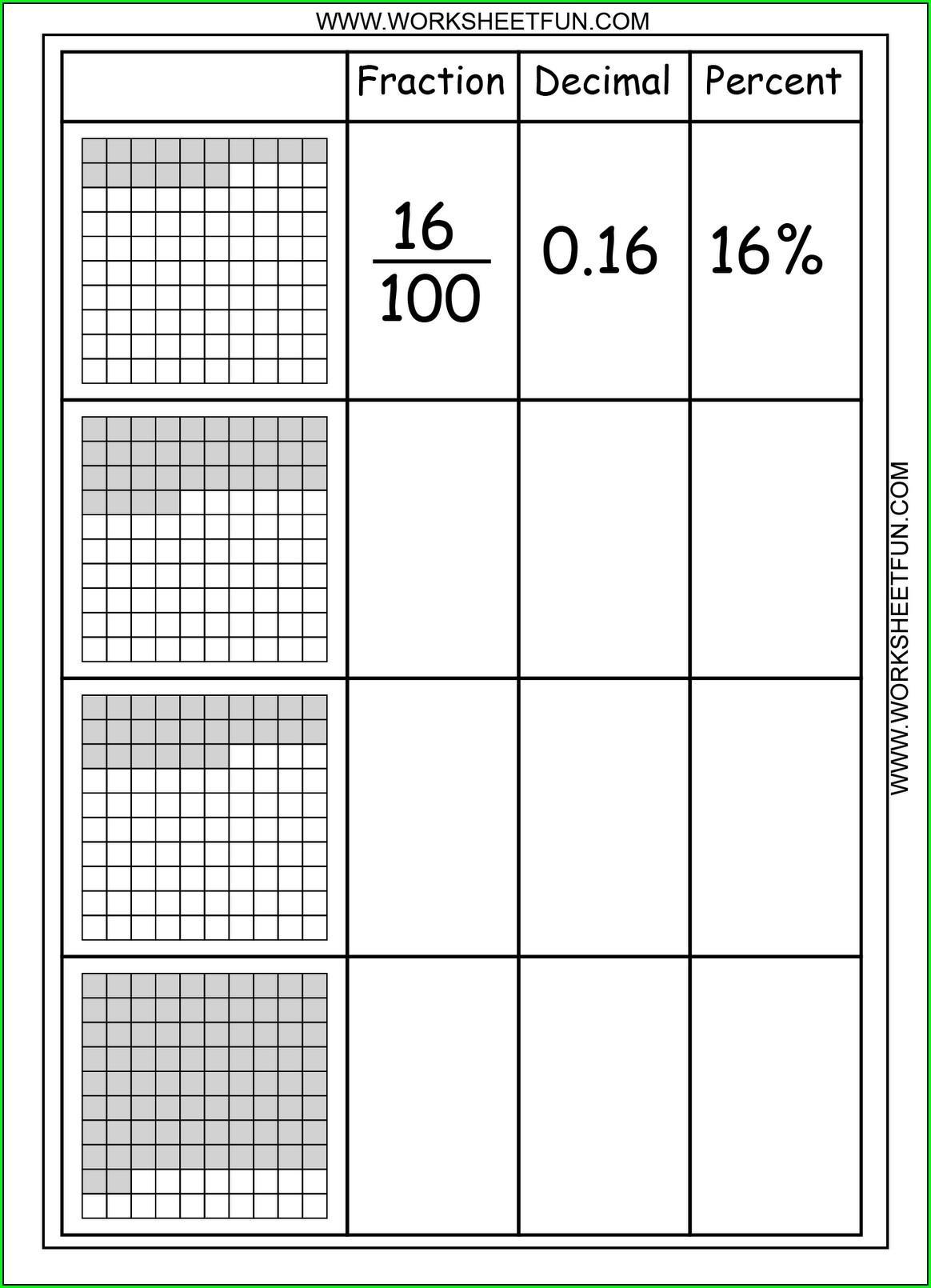 5th Grade Math Worksheets Fractions Decimals And Percents
