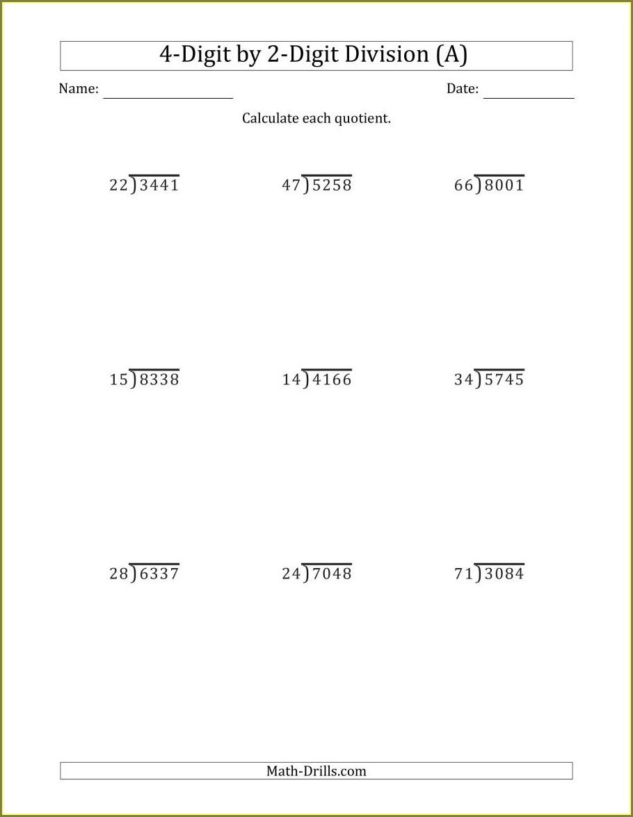 5th Grade Math Worksheets Long Division