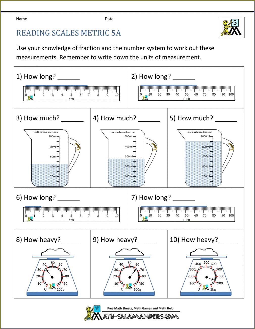 5th Grade Math Worksheets On Measurement