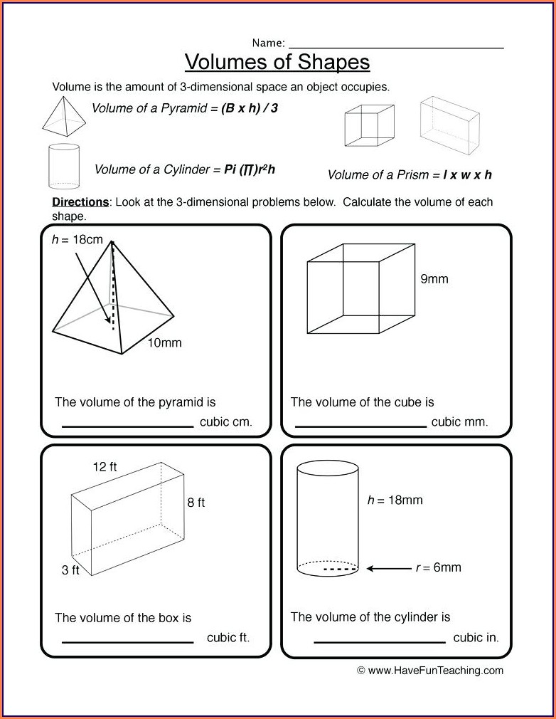 5th Grade Math Worksheets On Volume