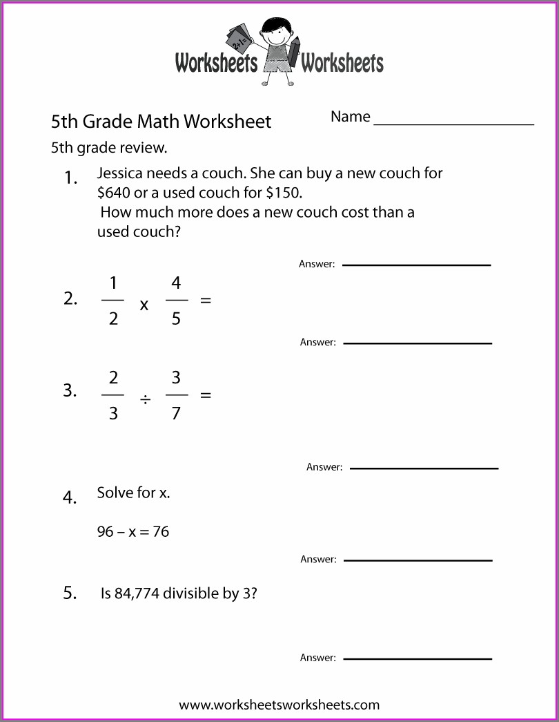 5th Grade Math Worksheets With Answer Key Printable