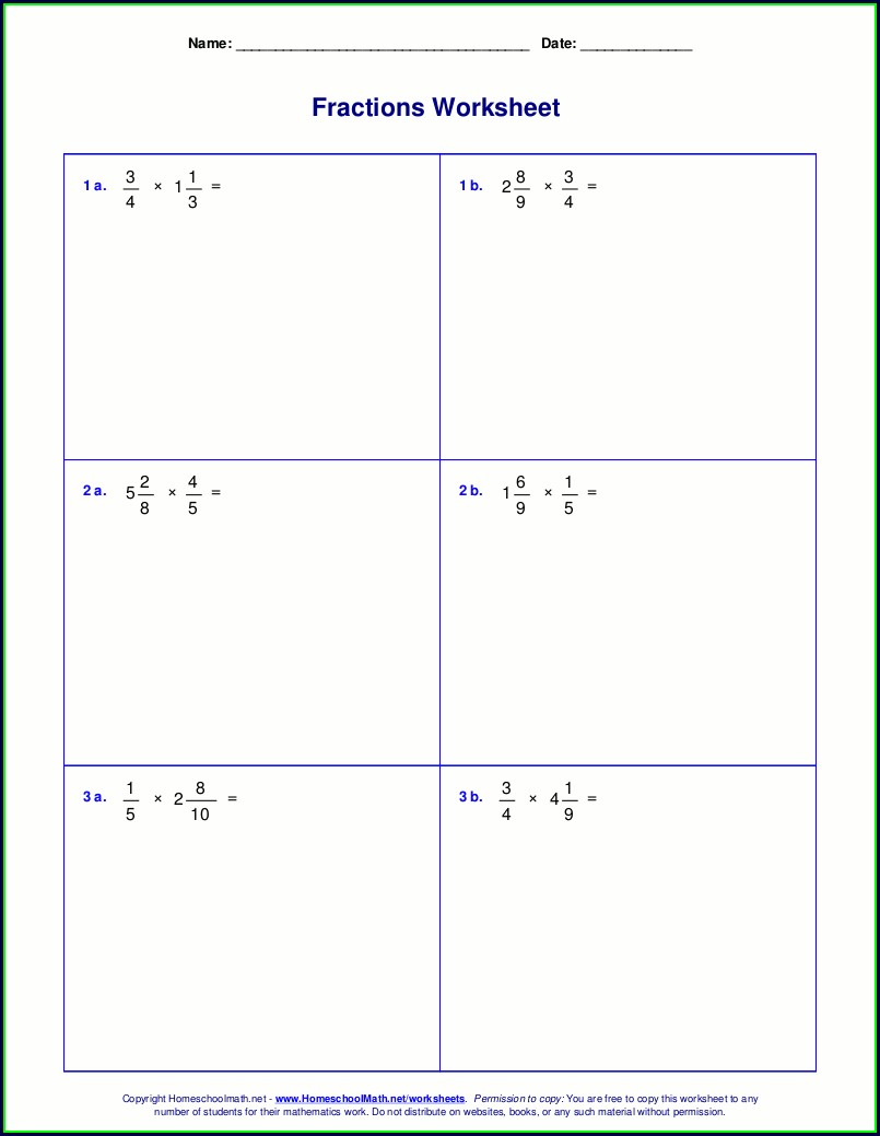 5th Grade Multiplying Mixed Fractions Worksheet
