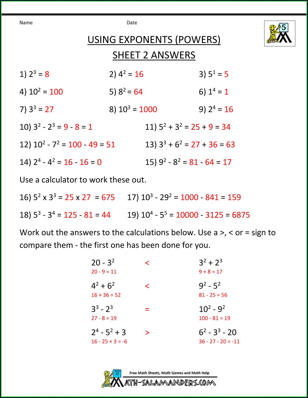 5th Grade Order Of Operations Worksheet With Answers