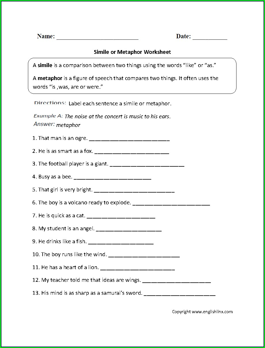5th Grade Printable Figurative Language Worksheets