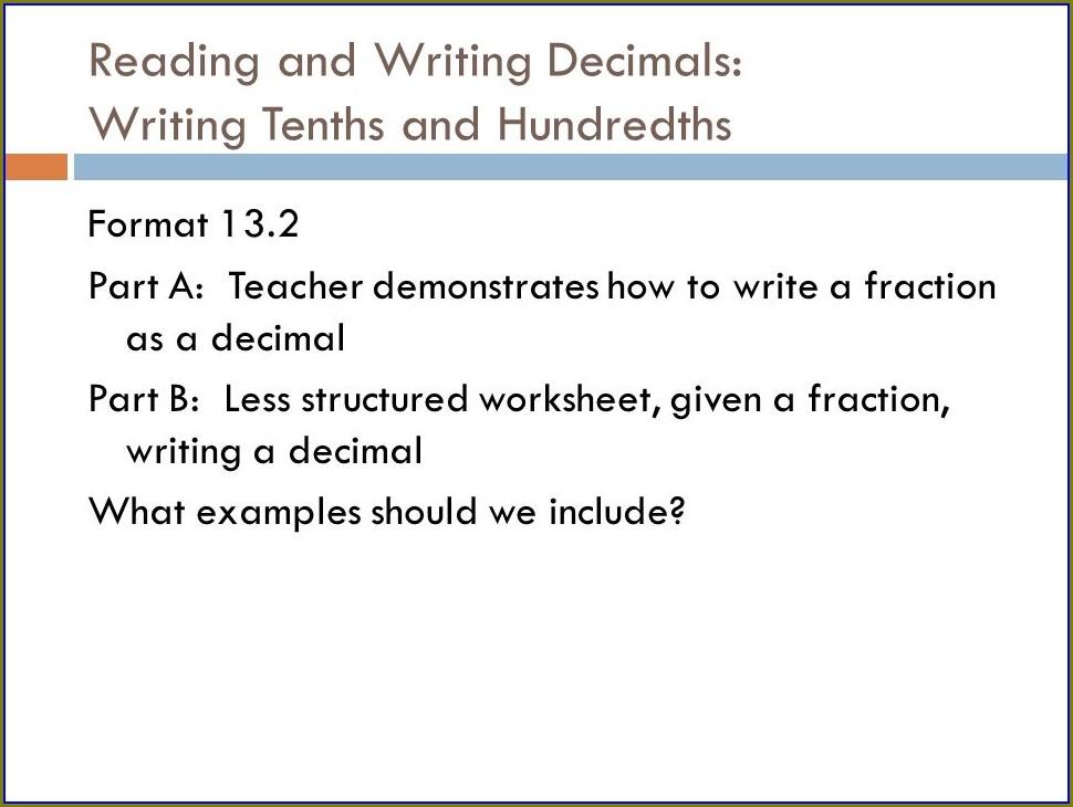 5th Grade Reading Decimals Worksheet