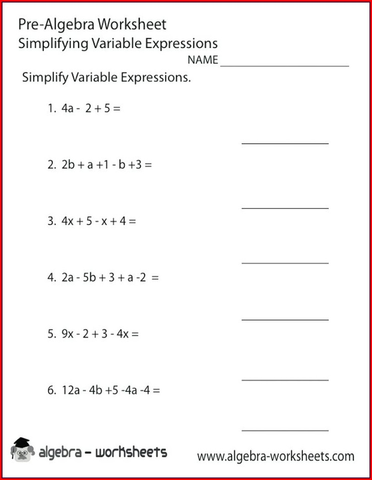 5th Grade Simplifying Algebraic Expressions Worksheet