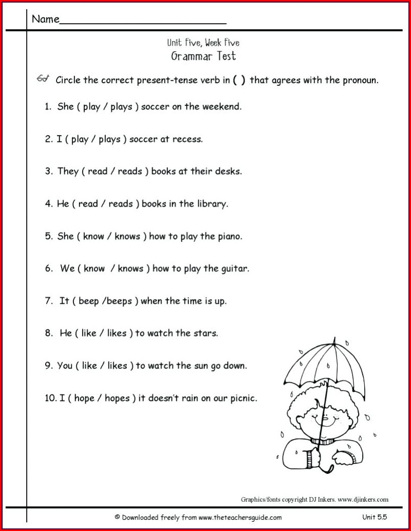 5th Grade Tenses Worksheets For Grade 5 Pdf