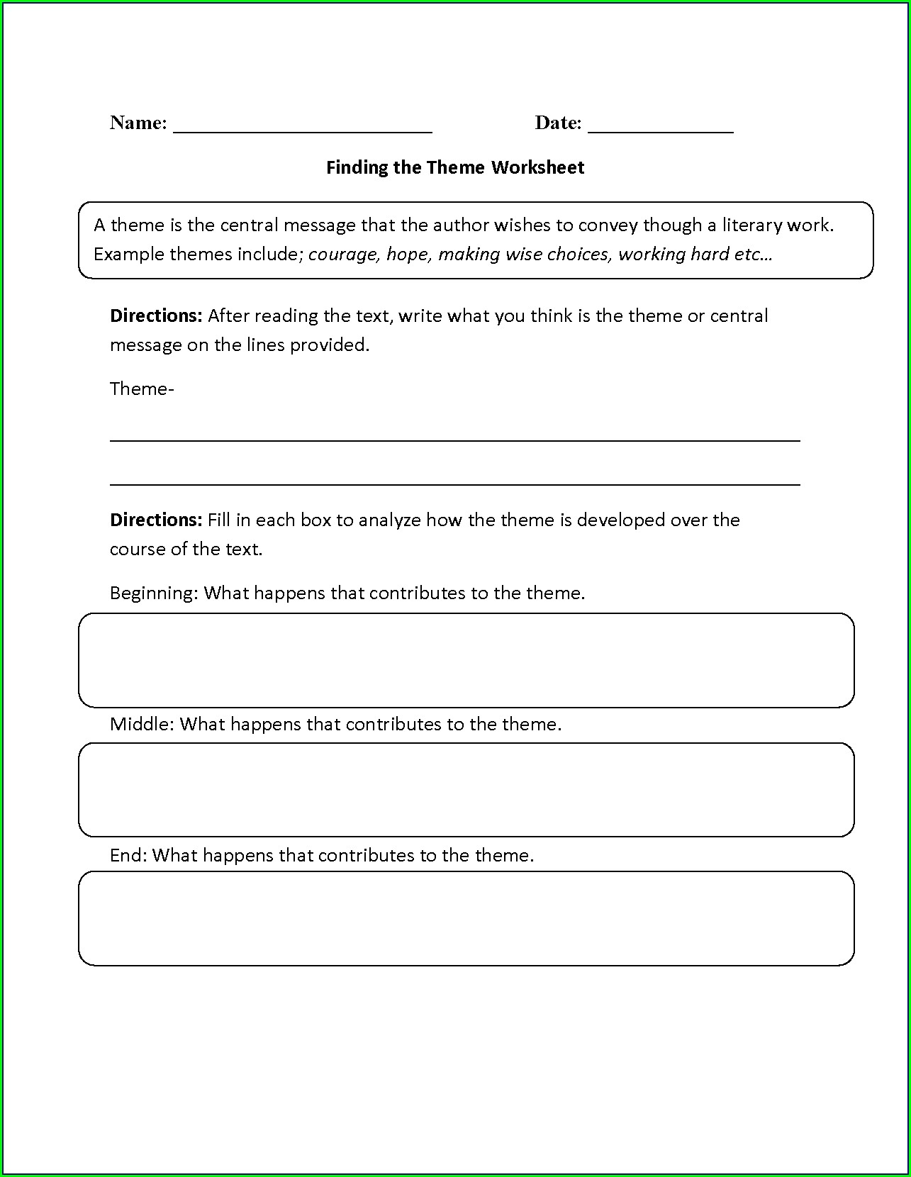 5th Grade Theme Worksheets Pdf