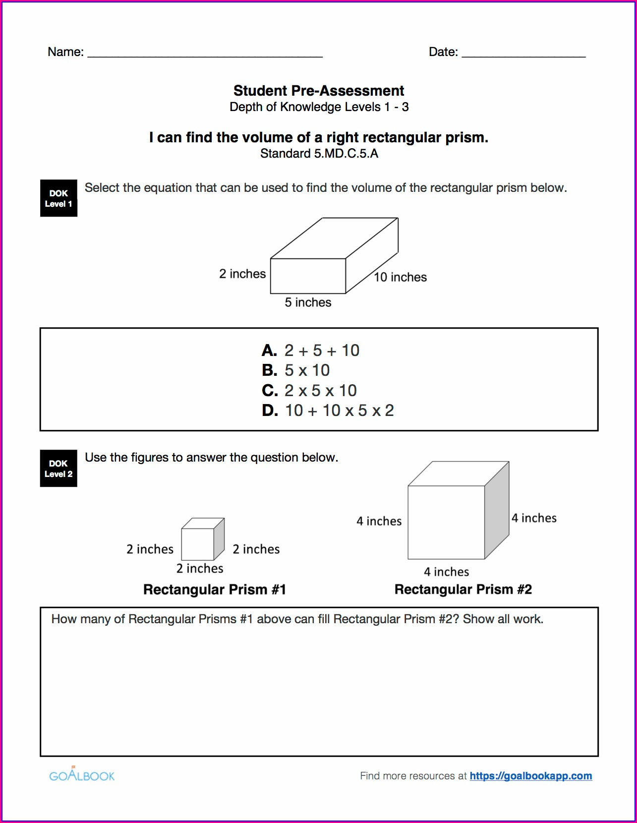 5th Grade Volume Worksheets