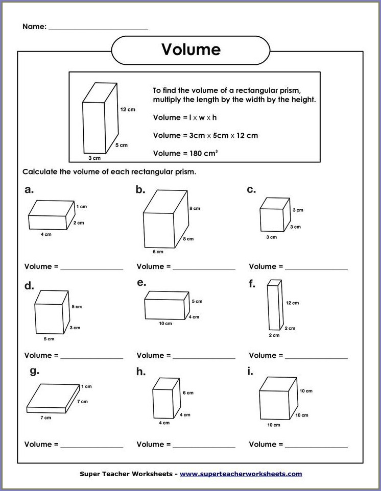 5th Grade Worksheet On Volume For Grade 5