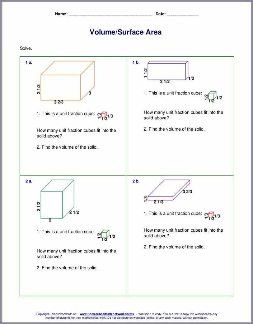5th Grade Worksheet On Volume