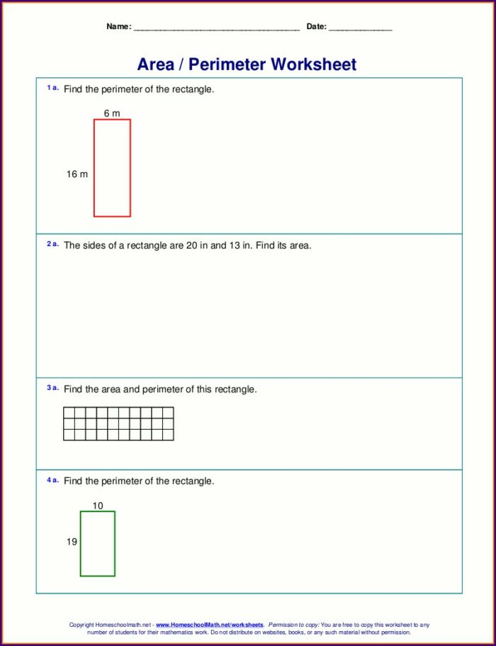 5th Grade Worksheets On Area And Perimeter For Grade 4