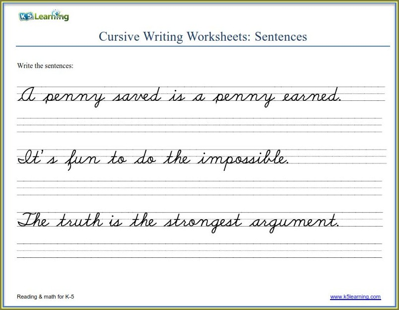 6th Grade Cursive Writing Sentences Worksheets Pdf