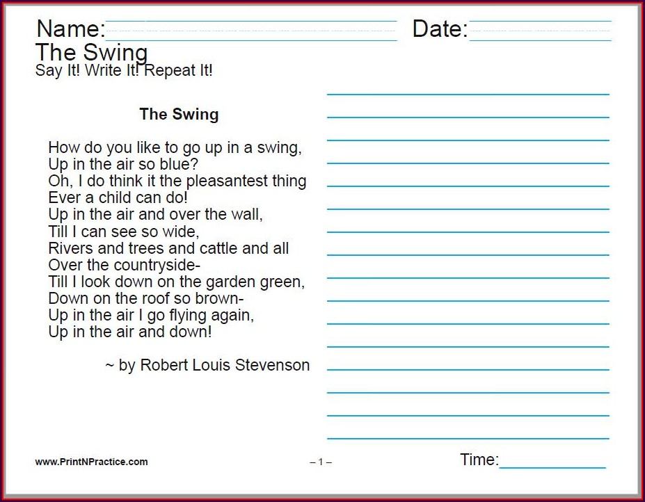 6th Grade Cursive Writing Worksheets For Adults